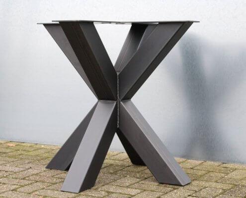 stalen tafelonderstel dubbelkruis mat zwart compact