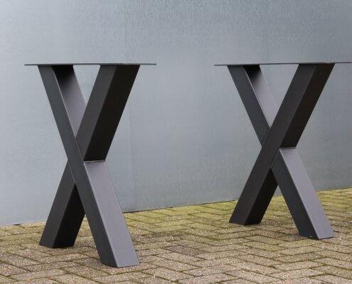 stalen tafelpoten model X zwart
